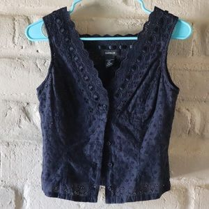 Eyelet button up top from Express